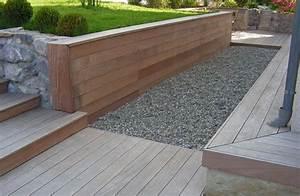 pas de contour et lames droites terrasse escalier banc With nice modele de terrasse en bois exterieur 1 amenagement terrasse bois exterieur images