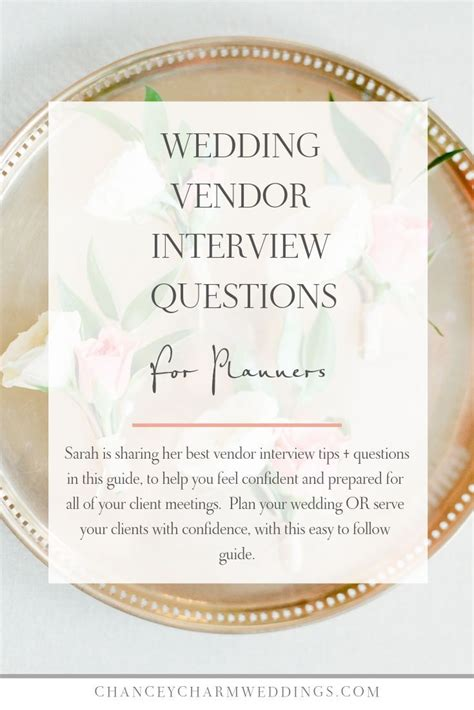 Wedding Vendor Interview Questions for Wedding Planners