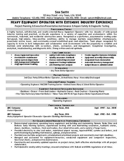 heavy equipment operator foreman resume equipment operator resume exle resume exles