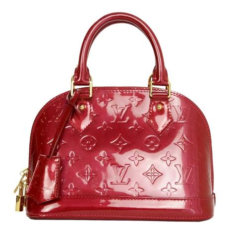 louis vuitton red monogram vernis mini alma bb crossbody