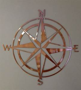 Nautical compass rose metal wall art copper colored