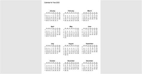 printable  full year calendar   calendar