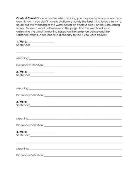 12 best images of context clues worksheet 6th grade