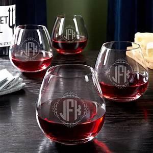 Wedding, Monogram, Stemless, Wine, Glasses, Set, Of, 4