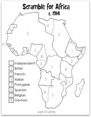 scramble for africa blank map