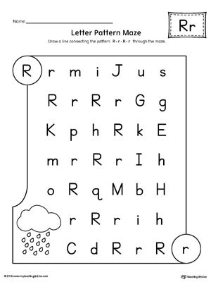 letter r worksheets for kindergarten letter r worksheet letter r pattern maze worksheet myteachingstation 22799