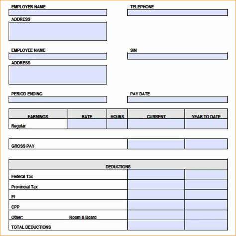 canadian pay stub template excel simple salary slip