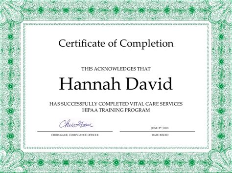 Hipaa Course Completion Certificate  Hdavid (1