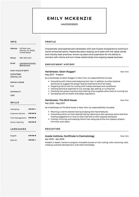 Hairdressers Resume by 12 Free Hairdresser Resume Sle S 2018 Free Downloads