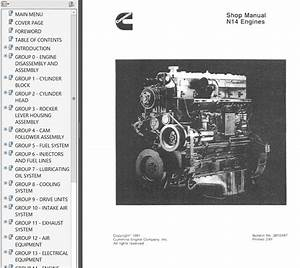 Cummins N14 Engines Shop  U0026 Troubleshooting  U0026 Repair Manual 1991