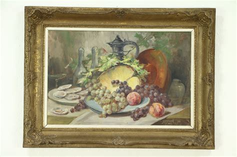 oysters fruit  life antique oil painting carved