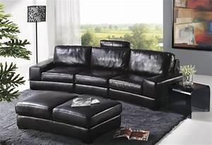 Avandi Black Leather Sofa Set - Traditional - Living Room ...
