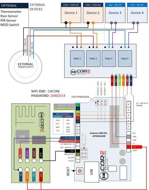 wiring esp8266 wifi transceiver arduino with relay 14core com