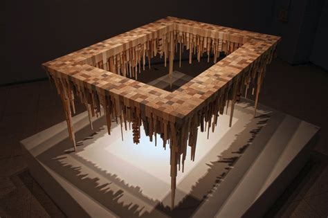 amazing wooden table  upside  town miniature