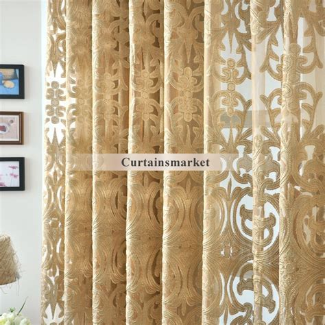 Gold And White Sheer Curtains by Beautiful Yarn Patterned Semi Gold Sheer Curtains