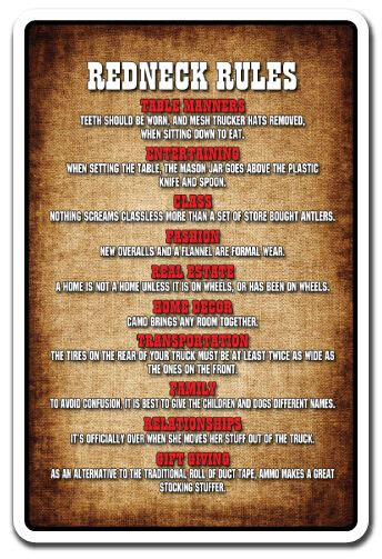 redneck rules novelty sign gift country southern hillbilly