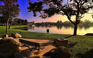 Sunsets, Landscapes, Nature, Trees, Bench, Lakes, Hdr, Photography, Parks, 2560x1600, Wallpaper, U2013, Nature