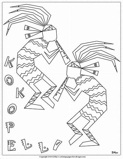 Coloring Pages Kokopelli Native American Symbols Printable