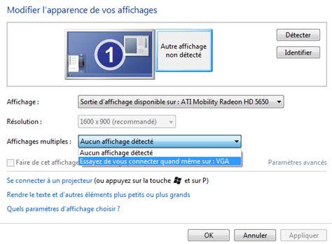 affichage bureau windows 7 se connecter facilement à un vidéo projecteur sous windows