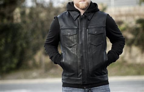 Men's Motorcycle Son Of Anarchy Style Leather Vest W/ Full