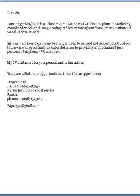 I Am Sending My Resume For Your Perusal by Application Covering Letter