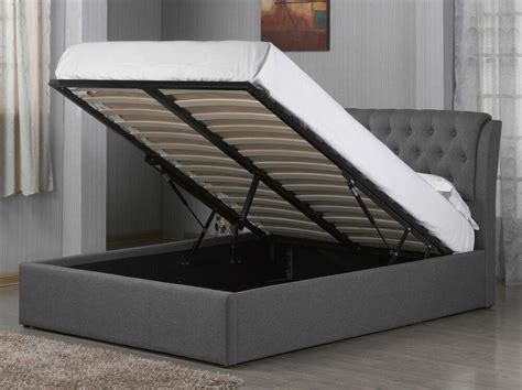 Storage Bed Ottoman by Grey Fabric Chesterfield Style Ottoman Storage Bed Frame
