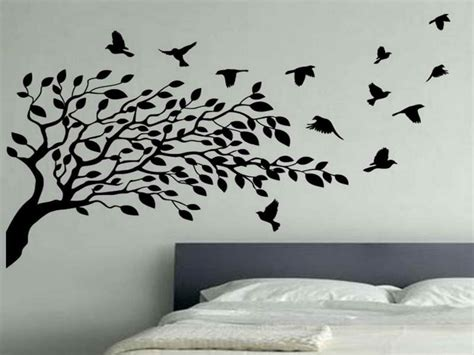 photo wall ideas bedroom flying birds wall decor white