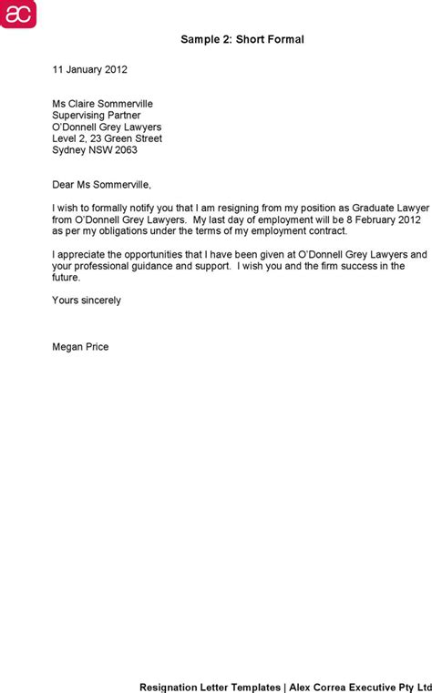Free Template For A Resignation Letter - Infoupdate.org