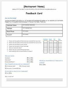 Hotel Services Feedback Form Template MS Word | Word ...