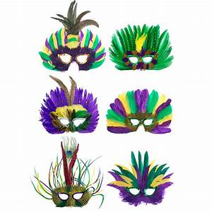 Assorted Mardi Gras Feather Masks (6) [] - MardiGrasOutlet com