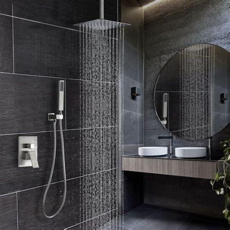 khrodis ceiling shower system brushed nickel  high