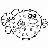 Coloring Puffer Fish Pufferfish Puffy Blowfish Surfnetkids Colouring Cartoon Template Sheets Drawings Marine Coloriage Mammals Poisson Ocean Balloon Funny Projects sketch template