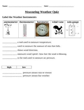 measuring weather quiz 4th grade science by cammie s