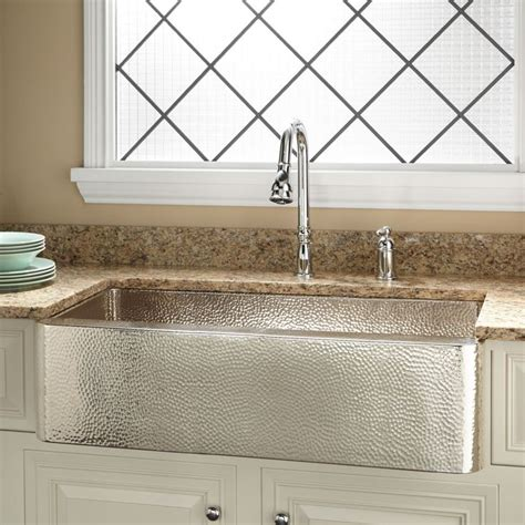 hammered kitchen sink 35 quot reena nickel plated hammered copper farmhouse sink 1536