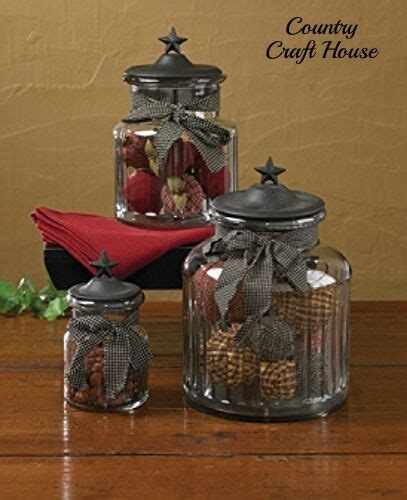 Country Kitchen Glass Jars by New Primitive Country Kitchen Black Glass Canister