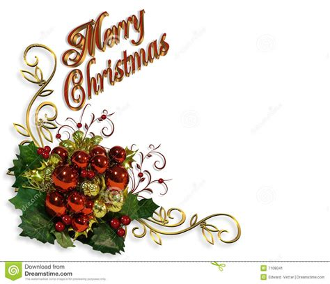 merry christmas border baubles greeting card stock image