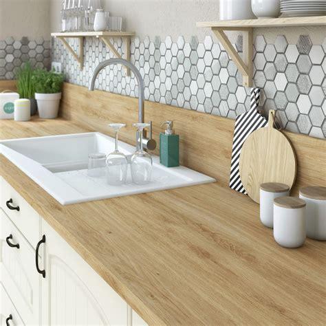 cuisine effet bois plan de travail stratifié effet chêne naturel mat l 315 x