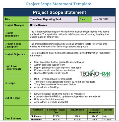 project scope statement template project management