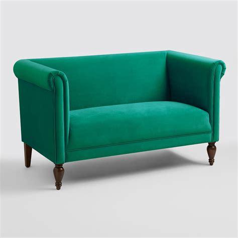 green velvet settee emerald green velvet marian loveseat world market