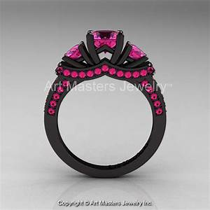 french 14k black gold three stone pink sapphire engagement With black gold pink sapphire wedding ring