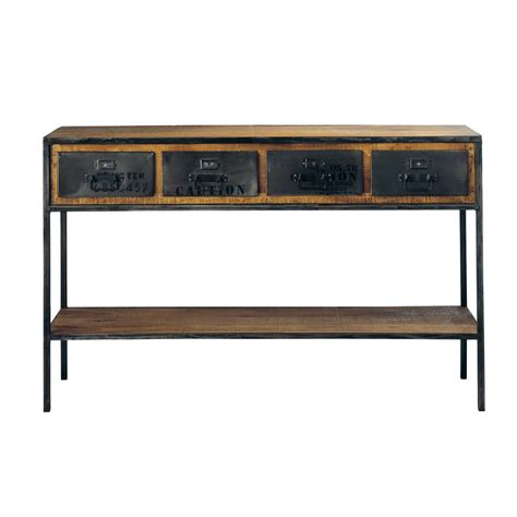 console maison du monde solid mango wood and metal industrial console table in