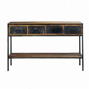 Table Industrielle Maison Du Monde : solid mango wood and metal industrial console table in black w 130cm manufacture maisons du monde ~ Teatrodelosmanantiales.com Idées de Décoration
