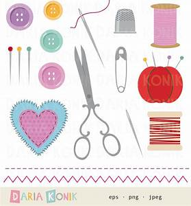 Sewing Utensils Clip Art Set-sewing clipart, scissors, pin ...