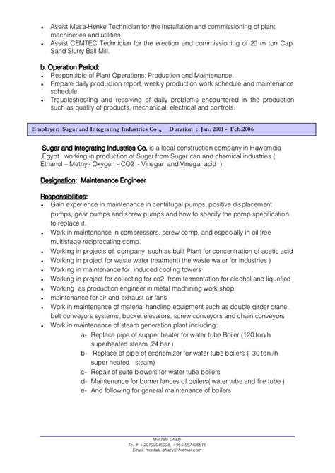 and gas mechanical maintenance engineer resume mechanical engineer cv