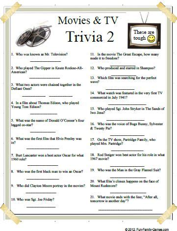 7 best images of modern trivia questions printable