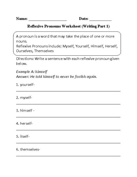 Reflexive Pronouns Worksheet Writing Part 1 Beginner  Pronoun Fun Pinterest
