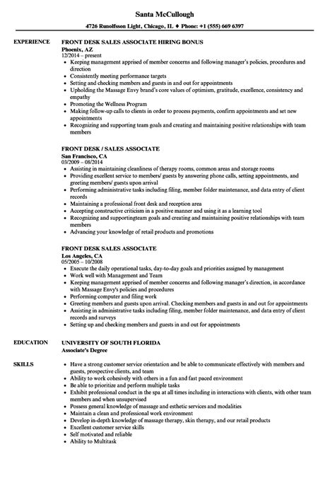 Resumes For Sales Associates by Front Desk Sales Associate Resume Sles Velvet