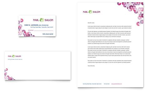 nail salon business card letterhead template design