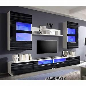 Schwarz Weiß Wohnzimmer : wohnwand corner anbauwand wohnzimmer sahara schwarz 3d folie wei mit led ebay ~ Orissabook.com Haus und Dekorationen