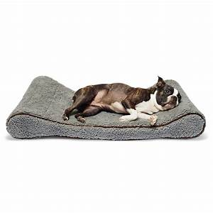 Precioustails sherpa top memory foam orthopedic contoured for Best orthopedic bolster dog bed